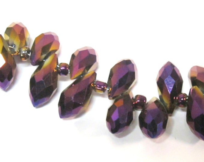 10 glass beads - Faceted teardrop shape royal purple color shiny crystal AB glass beads - AB067