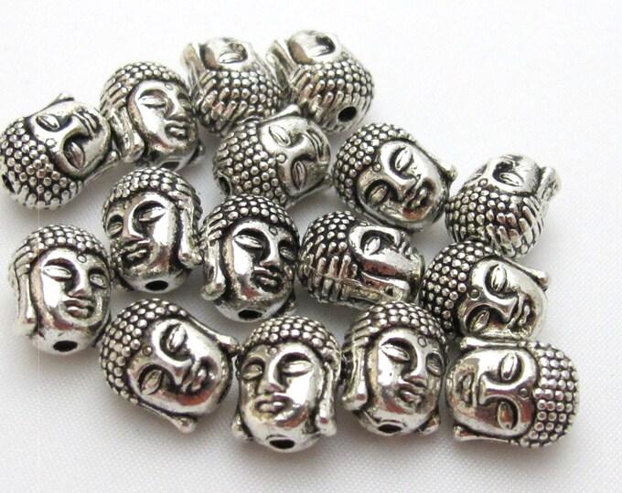 4 Beads - Reversible silver plated Tibetan Buddha bead - BD415