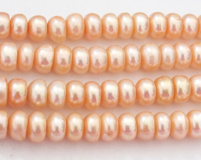 20 BEADS - Natural freshwater cultured cultured pearl  rondelle shape beads - PL018