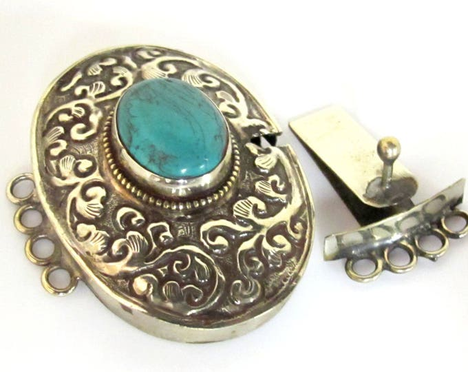 1 clasp - Large ethnic Tibetan silver turquoise inlaid statement clasp pendant  from Nepal - LN031