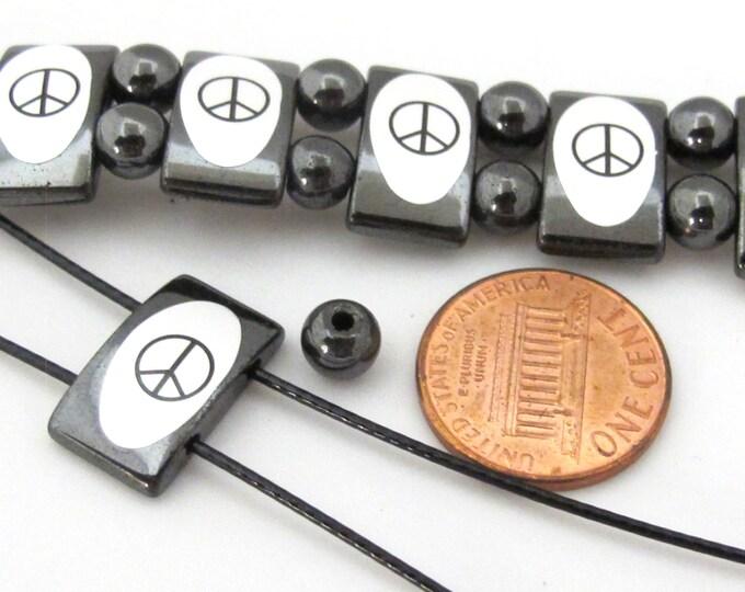 DIY bracelet making hematite peace symbol beads supply - DY005