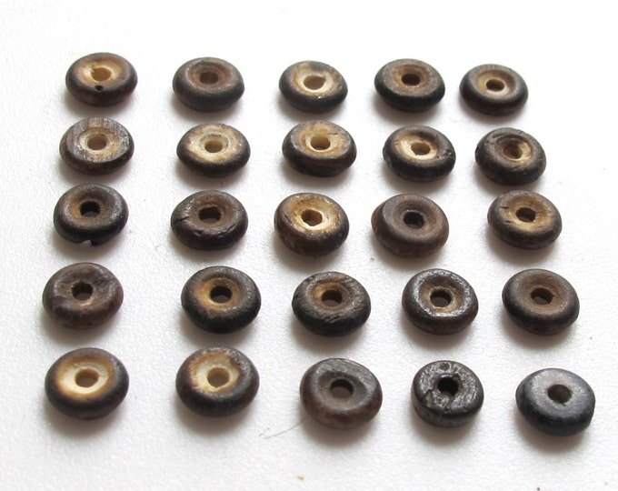 Small size Brown color spacer donut bone beads 5 mm - 25 beads - HB021A
