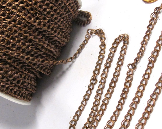 5 feet - Double link chain copper tone plated chain supplies  5 mm wide x 5 -6 mm long each link - MG010