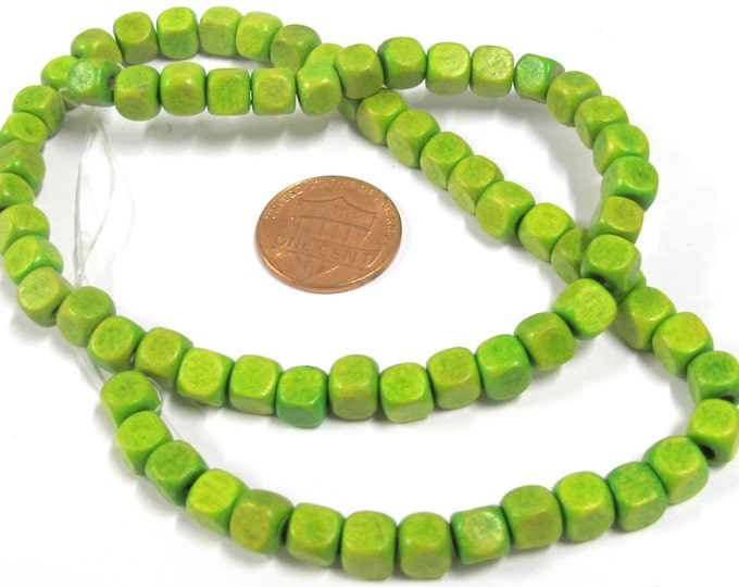 1 Strand - Green color wood cubes beads 6 mm - 16 inches - NB141