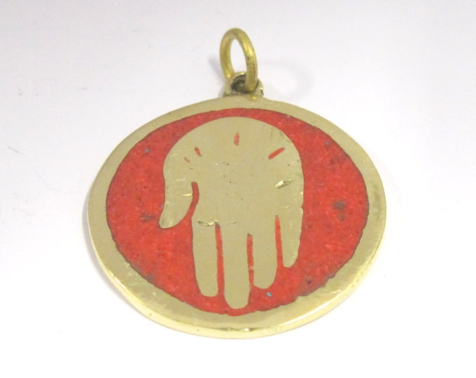 1 Pendant - Buddha hand brass pendant with coral  inlay from Nepal - PM186H