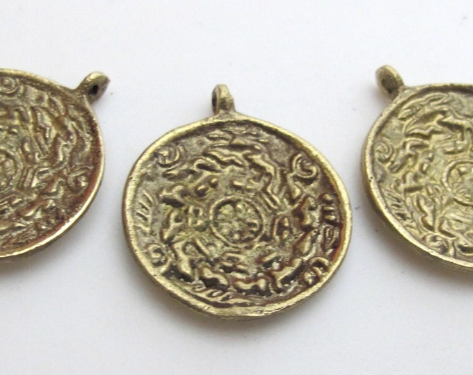 Set of 3 pendants -Small size Tibetan calendar  timeline wheel Solid Brass charm pendant - CP019 custom design copyright Nepalbeadshop