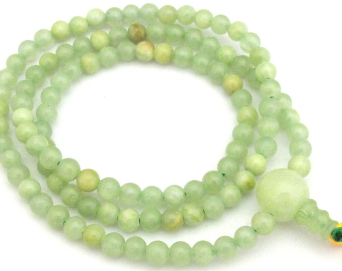 108 mala beads supply  -  Green color 6 mm size jade  beads with 14 mm Guru bead - ML023