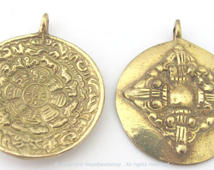 3 pendants -  42 mm Tibetan Om with calendar timeline wheel Solid Brass pendant and reverse side double dorje - CP085
