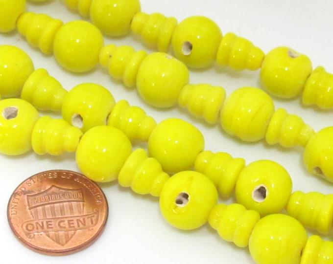 3 Guru Bead sets - 3 hole yellow color Glass Guru beads 10 - 11 mm  with column Beads  - GB047
