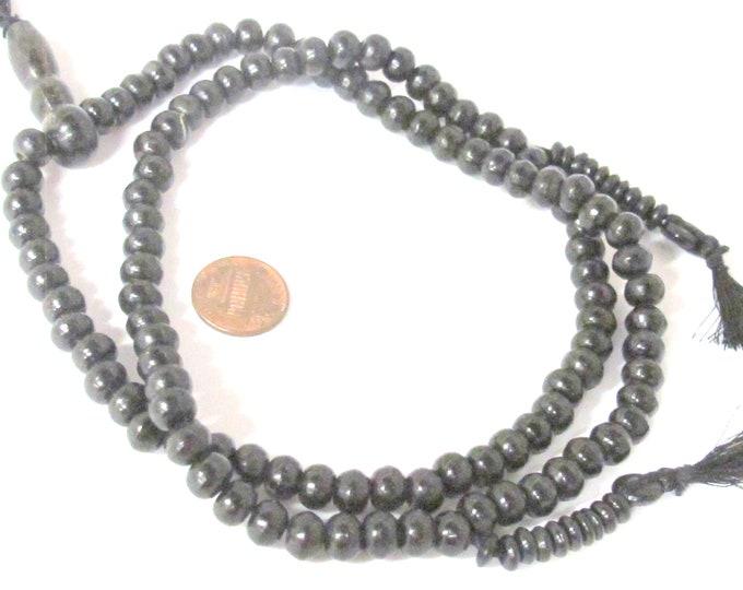 108 Beads - Bone beads mala beads tibetan beads nepal 8 mm black color mala making beads supply with guru bead  bone mala counters -  ML123A