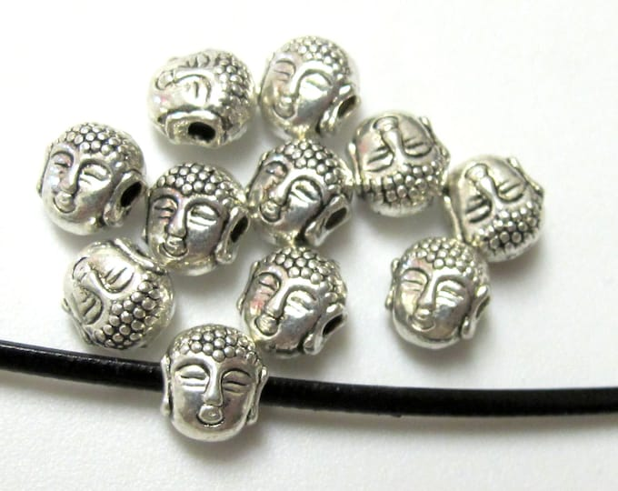 4 Beads-Dual sided Tibetan Buddha bead -great for making bracelets  - BD386