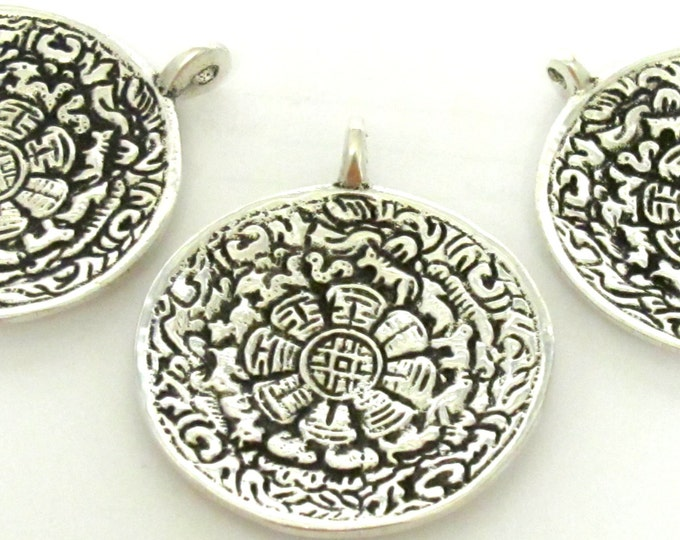 3 Pendants - Tibetan Om calendar timeline wheel silver plated over Brass pend1ant 50 mm height x 44 mm wide - CP0092