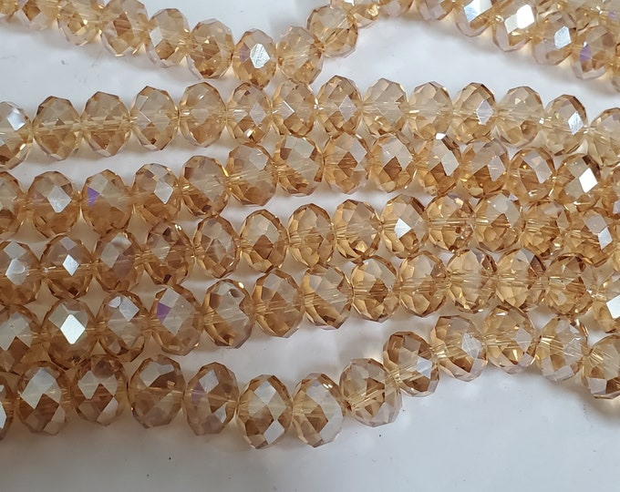 20 beads - Faceted rondelle champagne color AB shiny  crystal glass beads  bling shine -  12 mm size - AB076