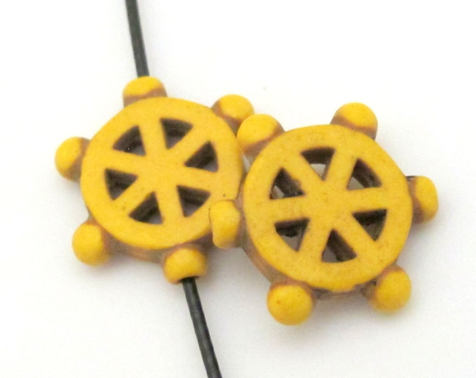 2 Beads - Yellow howlite  Dharma wheel symbol beads set - BD654E