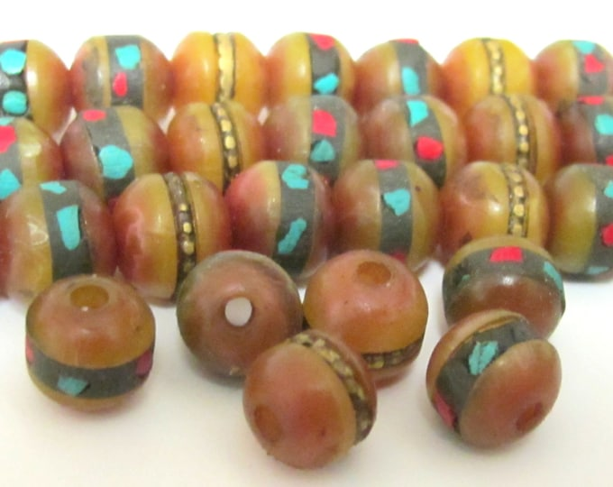 10 Beads - 10mm wide Tibetan amber copal resin beads with turquoise coral inlay - NB100