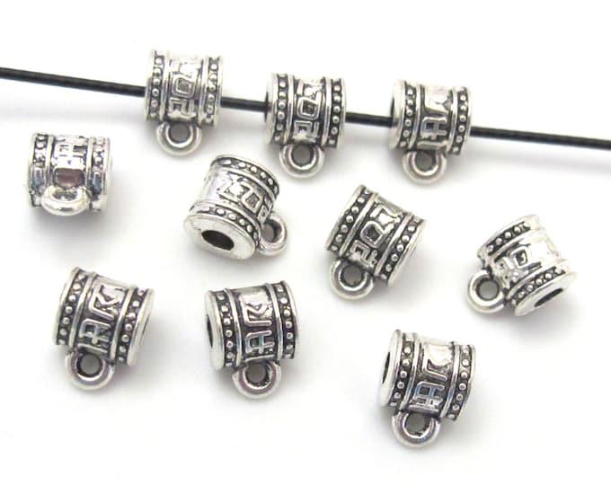 5 tibetan script silver tone plated connector bail beads 7 mm x 9 mm - CM091