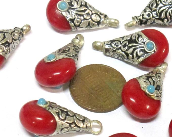 1 Pendant - Tibetan small petite size teardrop shape red copal resin reversible charm pendant with flower design on bail  - PM607D