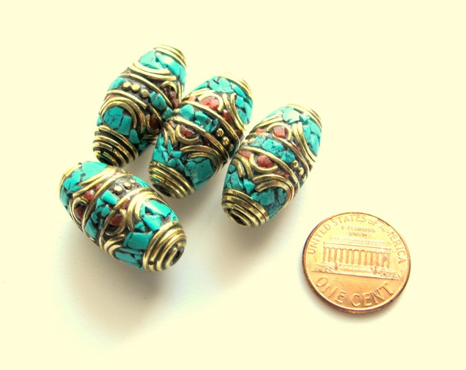 Tibetan beads nepal brass bead inlaid beads with  coral and turquoise - 1 bead - BD251