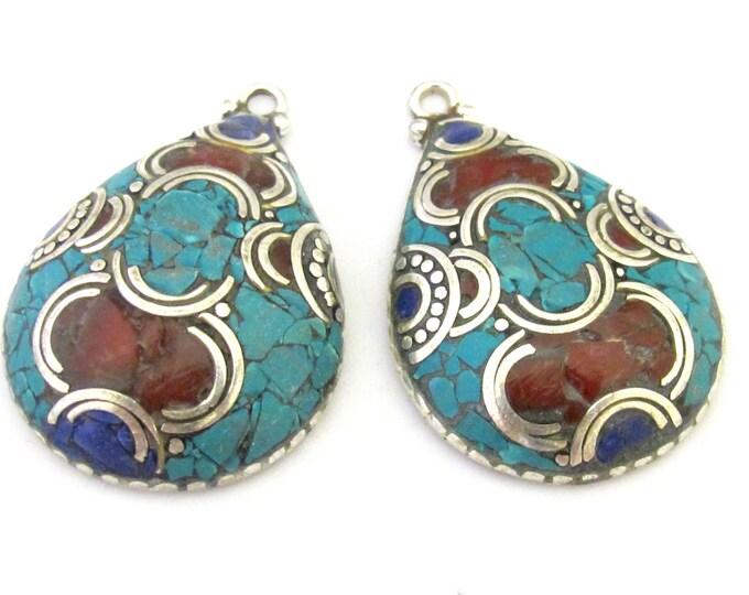 2 Pendants - Ethnic Tibetan silver teardrop shape pendants with turquoise coral lapis inlay - PM303