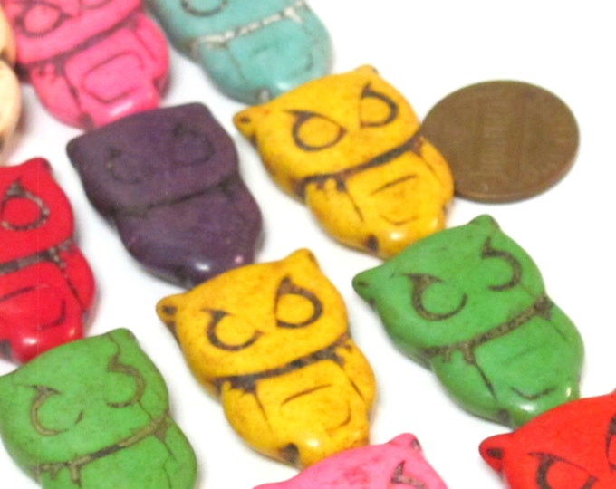 8 owl Beads-large Mix colors Howlite turquoise cute owl shape stone beads 28 -29 mm x  18 -19 mm - GM312K