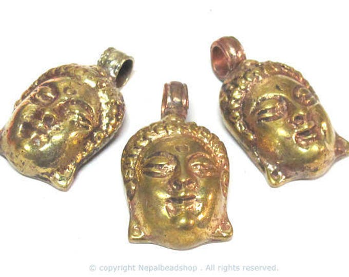 3 pendants set  - Tibetan solid brass Buddha face pendant with mix coppery antiqued finish reverse side floral carving from Nepal  - PM462Cx