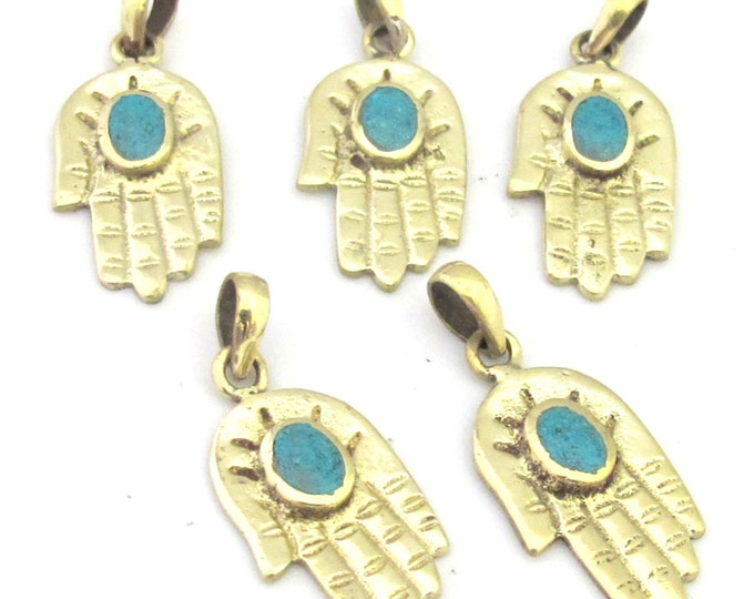 1 Pendant - Small size Tibetan Buddha hand pendant with turquoise inlay - PM295