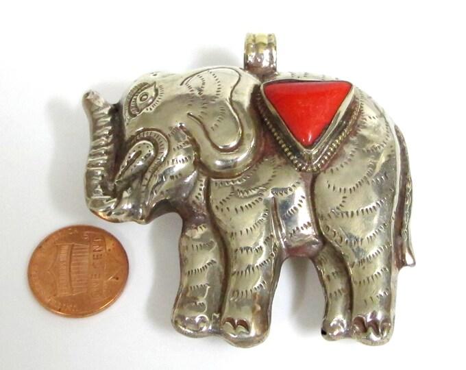 Tibetan elephant pendant - Tibetan antiqued silver finish Large Size  Elephant pendant with coral inlay - PM354B