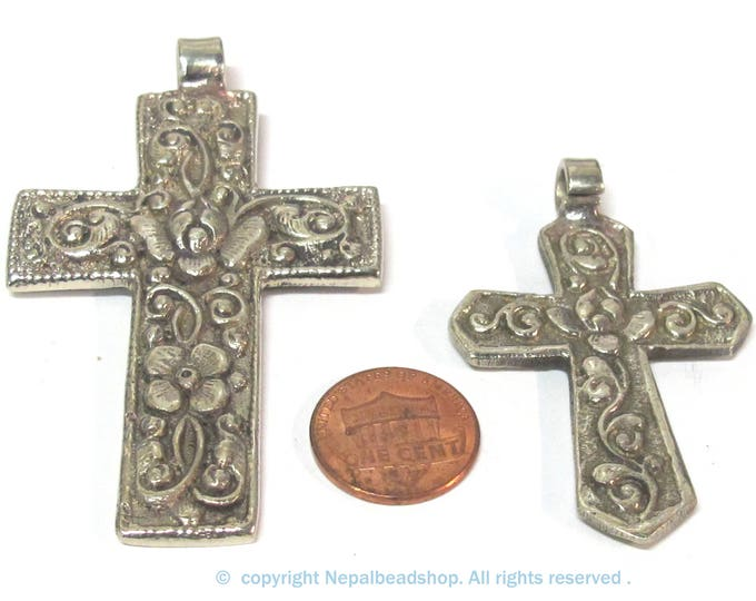 2 Pendants set - One long and one medium size reversible Tibetan floral design cross pendants from Nepal - PM596C