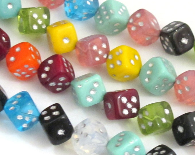 Colorful assorted Czech glass dice beads - 6 beads - BD315