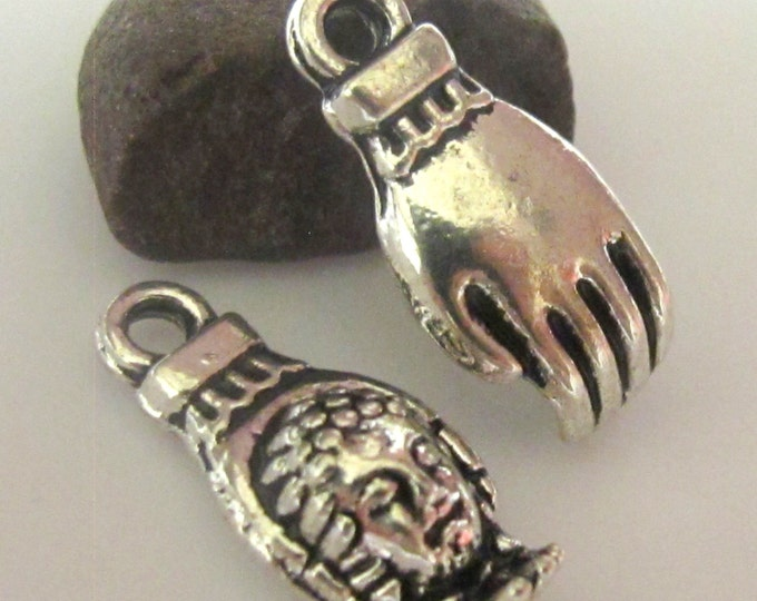 Silver tone Buddha Hand charms - 2 pieces - BD445