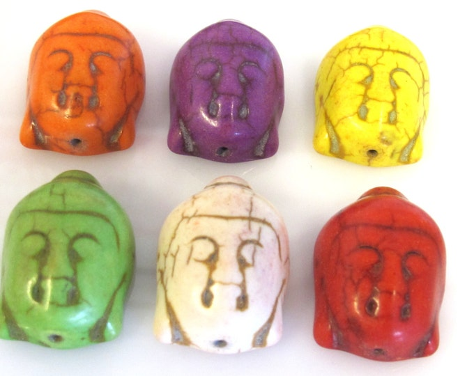 6 BEADS - Assorted color turquoise howlite carved Buddha beads  - BD920