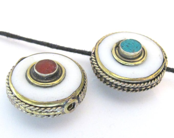 1 BEAD - Tibetan white shell disc bead encased in brass with turquoise inlay and reverse side coral inlay - BD578