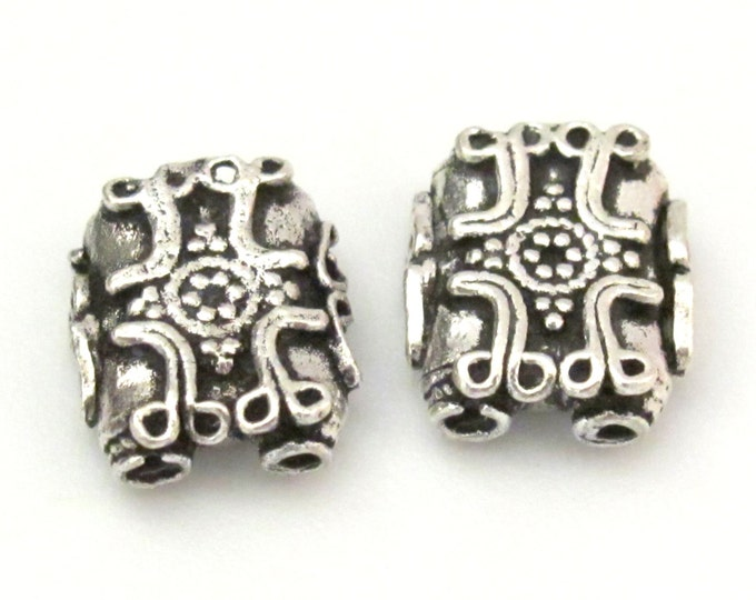 2 BEADS - Sterling silver plated cross design 2 hole rectangular shape beads - BD603A