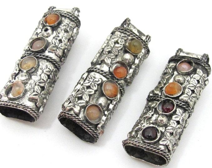 Ethnic Tribal antiqued silver tone pendant cap inlaid with agate gemstones - 1 bail cap pendant - LN019