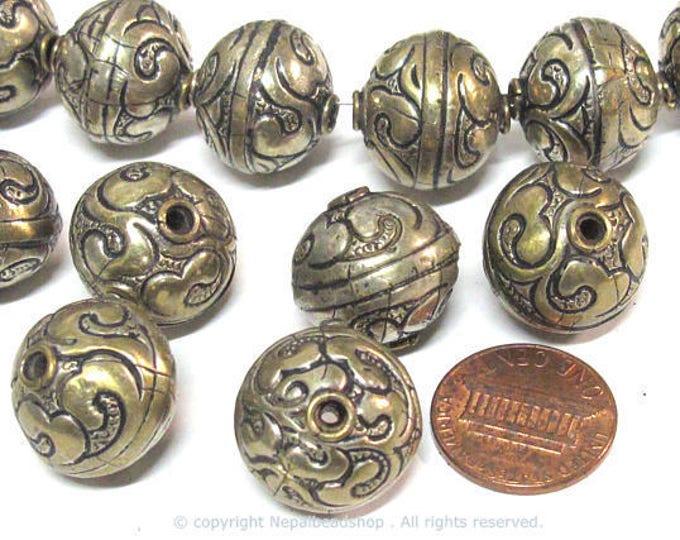 1 BEAD - Tibetan silver  repousse floral design oval shape beads 17 - 18 mm -  BD566B