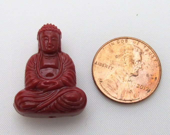 Red coral color seated meditation yoga posture buddha resin focal pendant bead - 1 bead - BD408