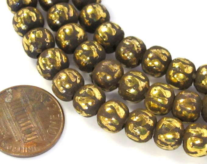 10 om mantra brass beads - 8 mm size Tibetan antiqued finish brass mala making beads om mani padme hum Tibetan prayer mantra beads  - ML082B