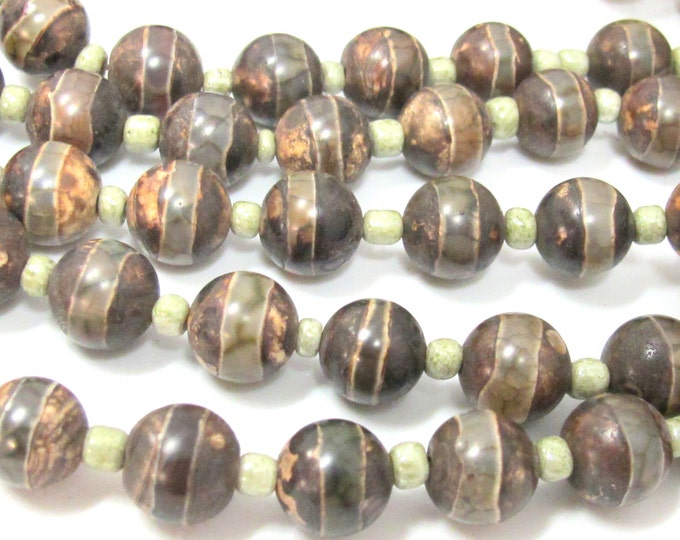 10 BEADS - Tibetan agate gemstone beads 10 - 11 mm size rustic brown color-  GM413