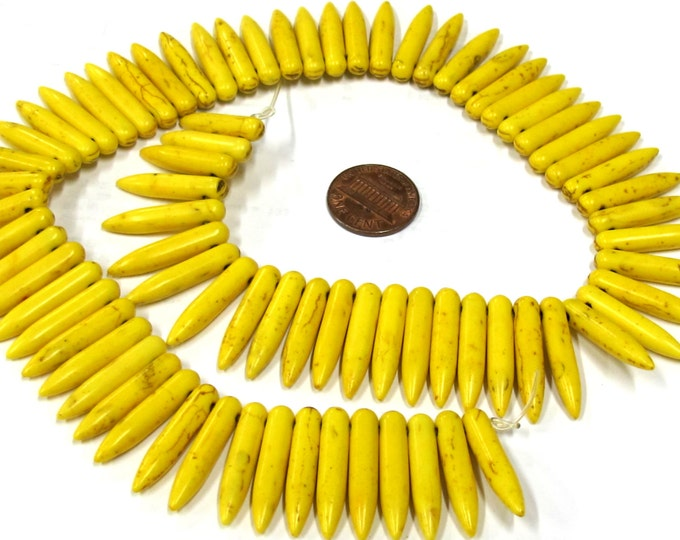 Full strand - Yellow color magnesite gemstone spike stick beads 25 mm x 5 mm  - GM356B