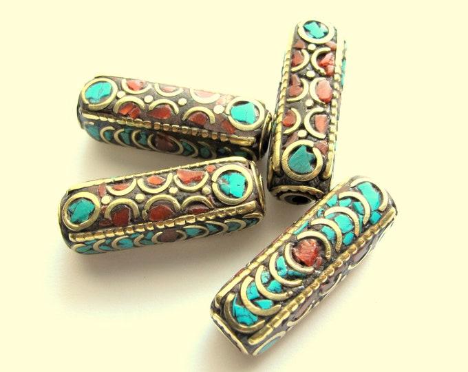 1 bead - Ethnic Nepal beads inlaid brass bead Long tubular brass bead turquoise coral inlaid from Nepal Tibetan Beads  - BD392