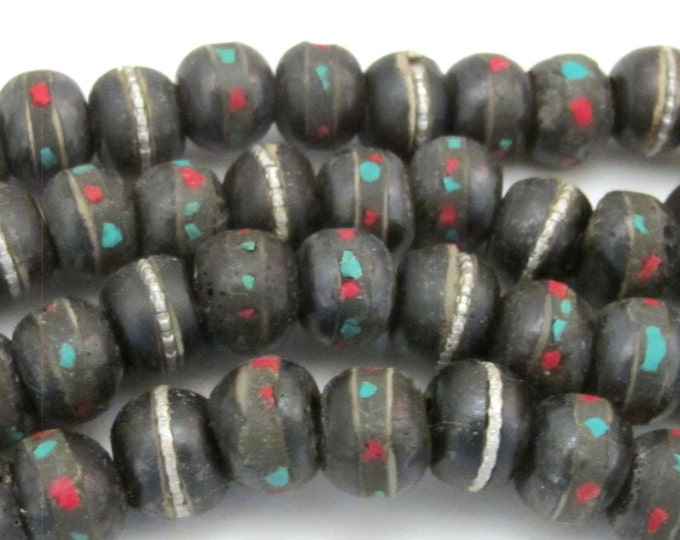 10 Beads - Rondelle shape Tibetan bone beads with turquoise coral inlay 10 mm  - NB128