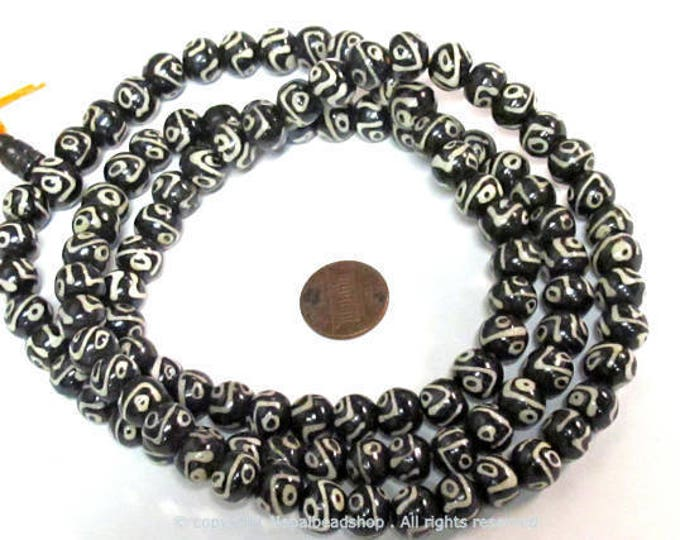 108 beads - Tibetan Nepal batik bone beads dzi eye design  10 mm size with guru bead mala making supplies -  ML104A
