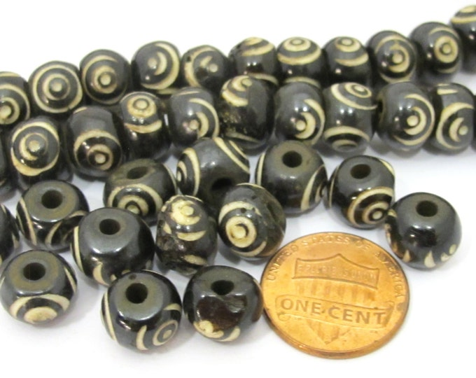 10 Beads - 10 mm size - Tibetan carved bone beads from Nepal - mala supplies - ML036B