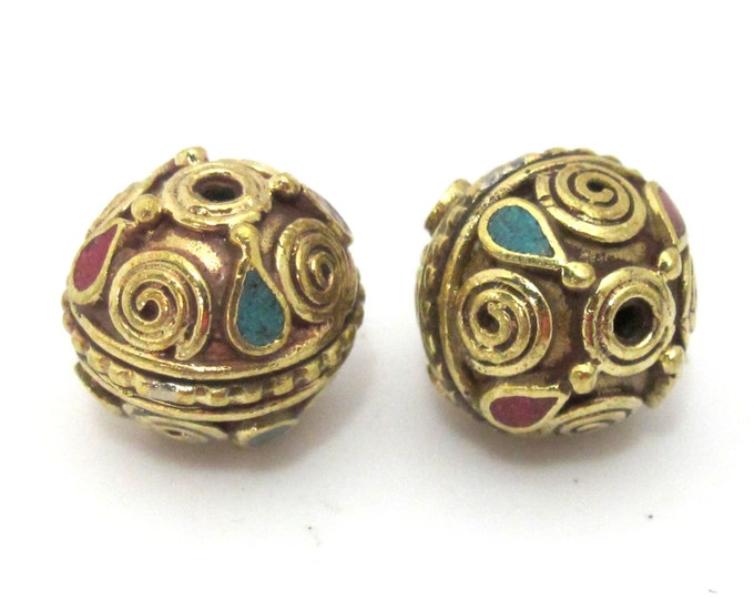 2 Beads - Tibetan brass bead with spiral design and turquoise coral inlay - BD908s