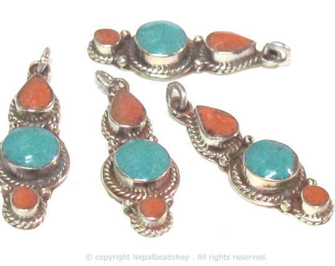 1 pendant - Small linear drop shape Tibetan silver charm pendant with turquoise coral  inlay - PM573B