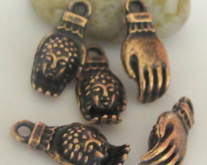 5 pieces-Rustic copper tone Buddha Hand charms -  BD443