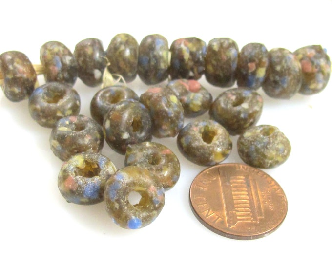 10 BEADS - African glass beads - African recycled glass donut shape beads honey brown color  - AB071