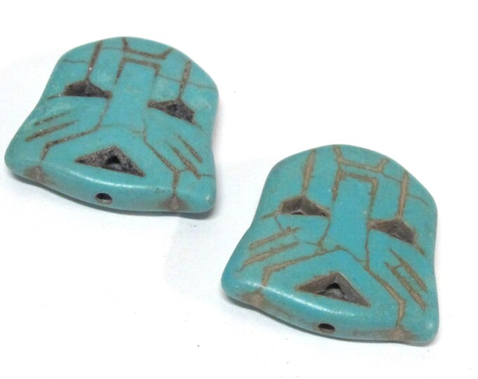 2 Beads - Blue color howlite tribal mask skull head shape  bead - BD003B
