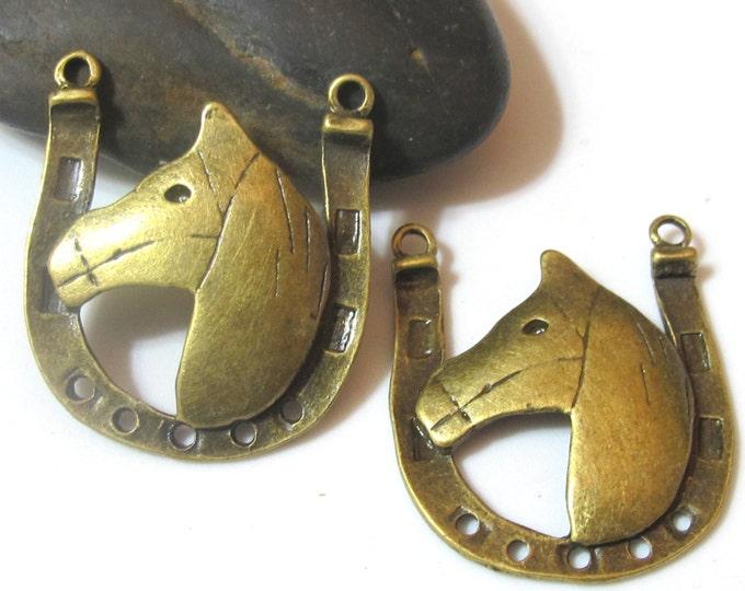 Brass tone horse shoe shape metal charm pendant - 2 pieces - BD463C
