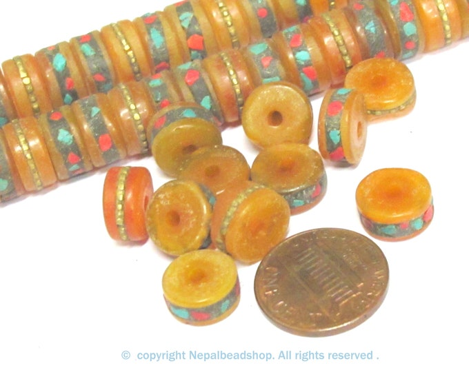 Tibetan beads -  10 beads - Tibetan copal resin beads with brass turquoise coral inlay rondelle disc shape 11 mm wide size- ML116B -10 beads
